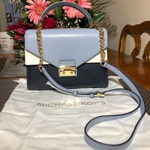 MK Sloan Color-Block Leather Satchel 🏷✨